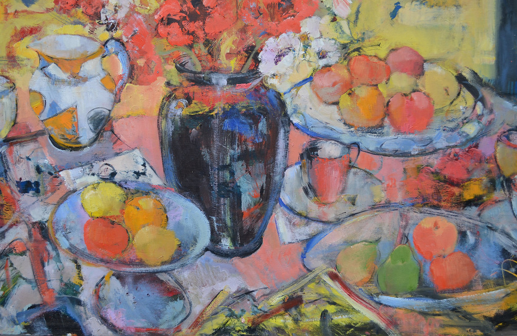Still Life with Black Vase, Poppies and Clarice Cliff Jug, 48 x 48, Oil on Board, £10,000
