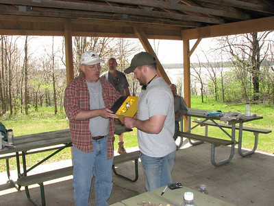 Here is Dave presenting the trophy to Jason for best morel hunter.