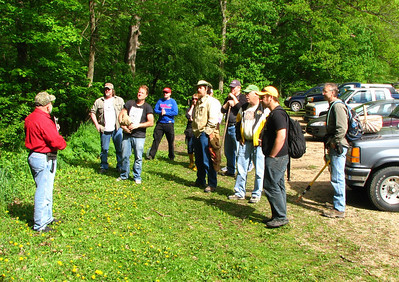 Dean addresses the group before we head out into the woods.