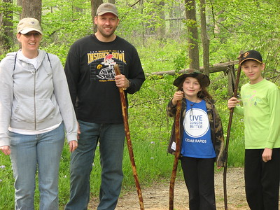 Nice family out looking for morels.