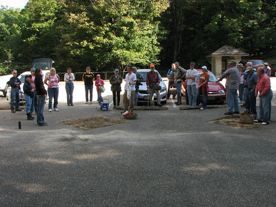 A nice size crowd gather to hunt for mushrooms in Maquoketa Caves State Park.