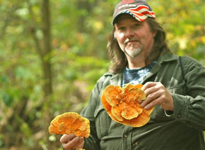 Brett went home with a basket full of Sulfur Shelf. Sulfur Shelf mushroom is also known as Chicken-of-the-Woods as its texture and appearance is similar to the breast meat of chicken when sliced and cooked.