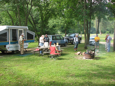 Dave's campground. After the foray, he treated us to fire grilled corn and hotdogs.