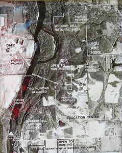 Map of Wickiup Hiill area, from the Education Center at the south end to the public hunting area to the north.