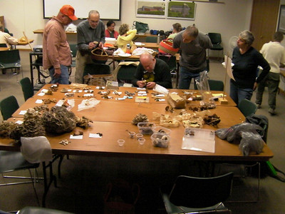Dean identifies fungus while other look and learn.