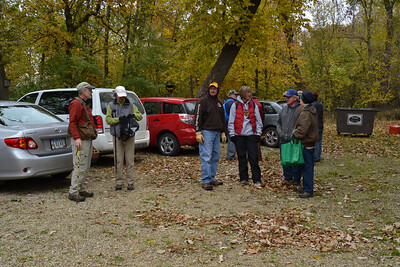 A portion of the foragers at the Girl Scout Camp. The day was overcast and cool enough that most people needed gloves.