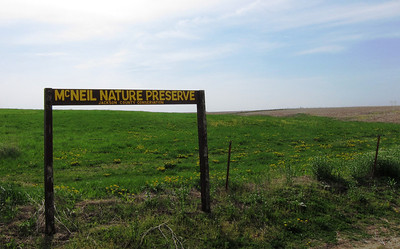 The sign marks the parking lot at McNeail Preserve in Jackson County Iowa.