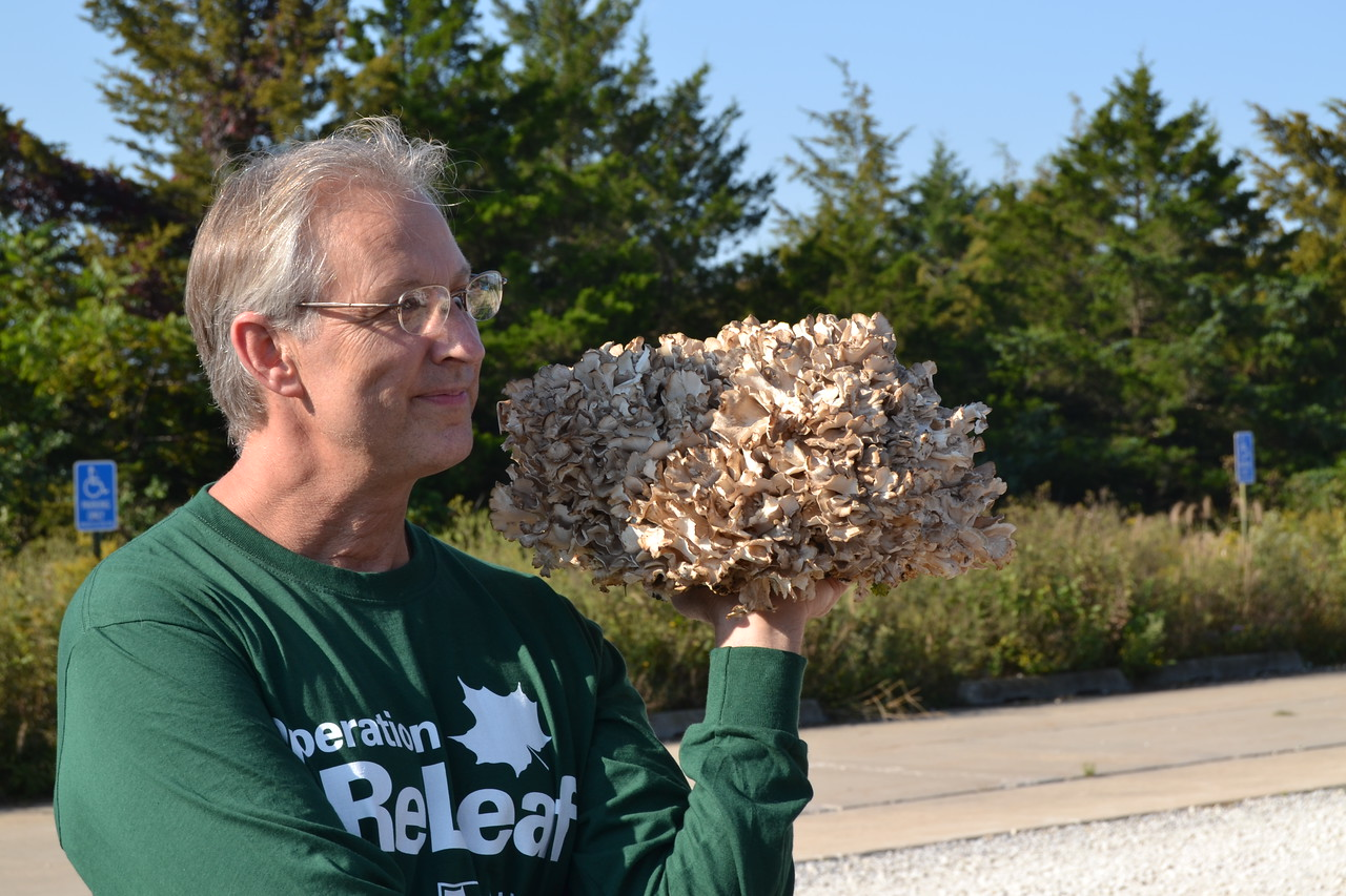 Marty shows a Hen-of-the-Woods he brought to the foray.