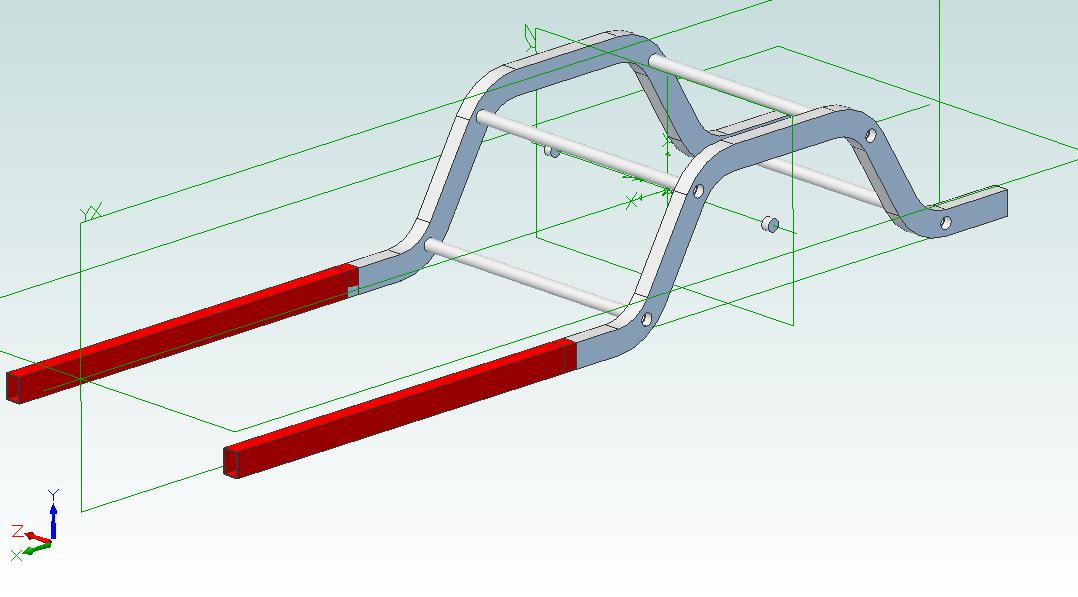Preliminary drawing from Team 321 showing my frame rails lined up with the IRS Cage rails