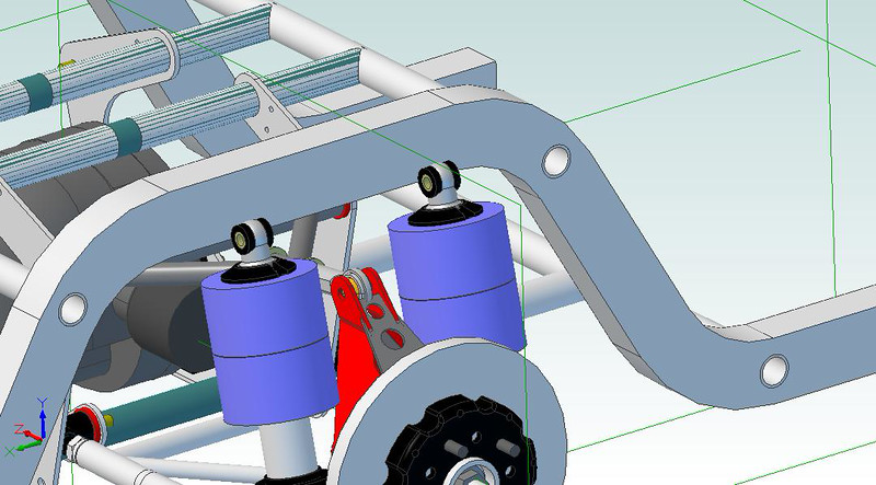 Closeup of the Shockwaves fitted to the control arms to verify no interferences