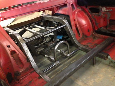 Team 321 IRS Cage for the TBird rear end with square tubing, mated into a Comet.  Setup will be similar for the van