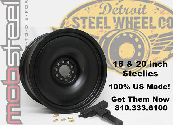 Detroit Steel Wheel.  All steel wheel, made to just about any offset, backspace.  Powder coated or bare, with different trim rings and center caps