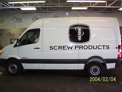 Plotted graphics installed on a Dodge Sprinter for Screw Products in Dallas, TX.     http://www.skinzwraps.com