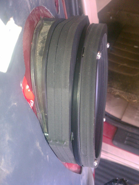 """Speaker adapters and spacers from  <a href=""""http://www.Car-Speaker-Adapters.com"""">http://www.Car-Speaker-Adapters.com</a> installed"""