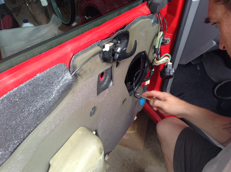 """Installing speaker adapter plate  from  <a href=""""http://www.car-speaker-adapters.com/items.php?id=SAK006""""> Car-Speaker-Adapters.com</a>    on to door"""