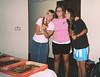 Kelsey Meyer, Katrina Choate, and Alisha Matthews take a pizza break