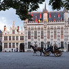 City Hall and carriage at twilight, Bruges.