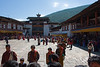 Wangdue Phodrang - Inside the Dzong, the festival is under way.