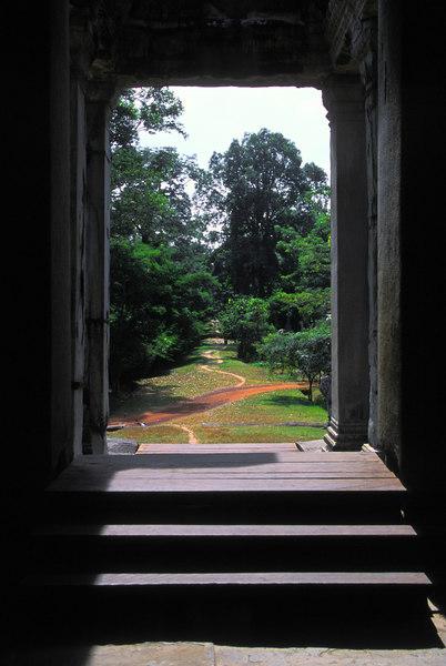 Pathway leaving the main temple at Angkor Wat