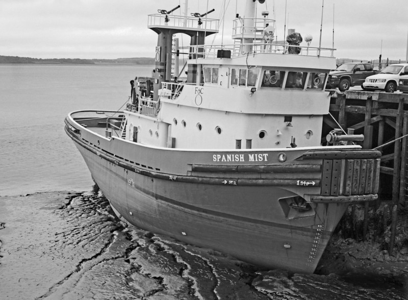 Spanish Mist boat moored at low tide, Nova Scotia, Imaged with Fuji 6x9 rangefinder camera using TMax 100 film.