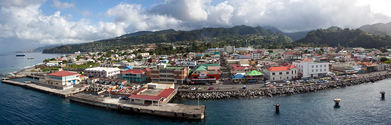 Dominica from moving Cruise ship