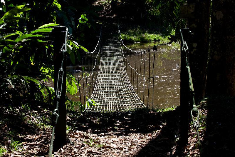 Swing bridge over water; Puerto Limon, Costa Rica; Bucuare Jungle Haven