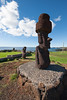 Multiple Moai along the beach.