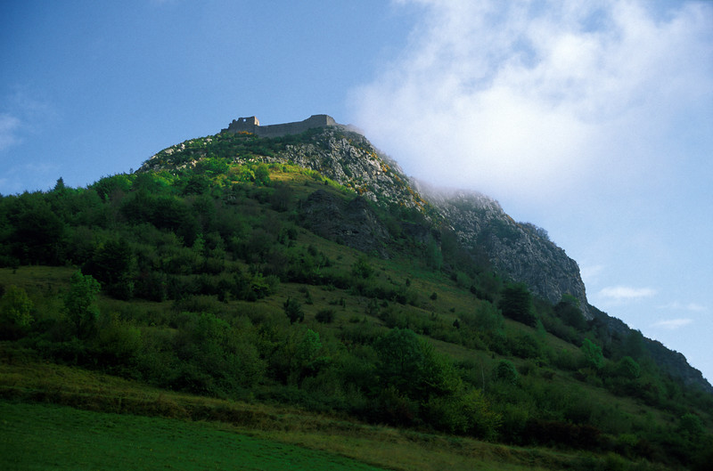 Looking up at Montsegur.