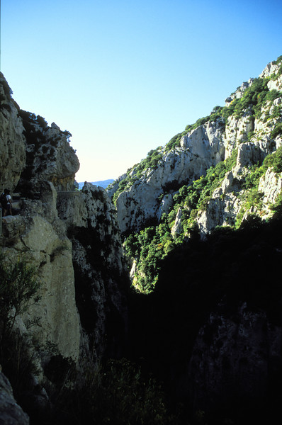 Galamus Gorge - A skinny road exists on the left side of the gorge.