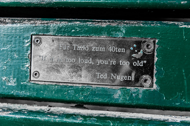 Munich - Not what I expected to read on a park bench.