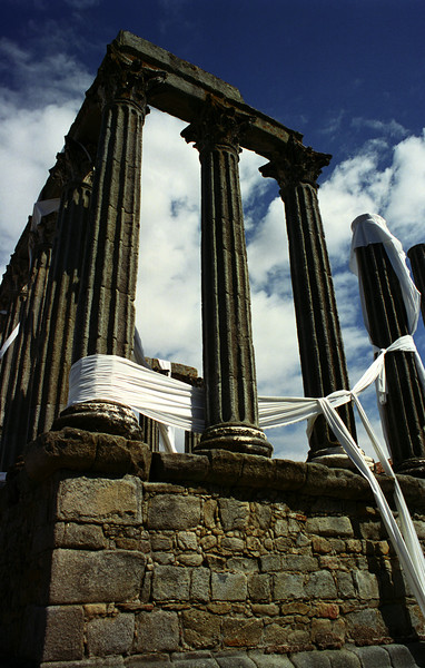 Evora - Roman Temple.  The white linen is a sign of support for East Timor.