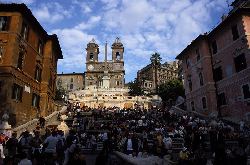 Spanish Steps. The pink house to the right is the Keats-Shelley Memorial House.