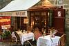 Sidewalk cafe in Dinan, France.