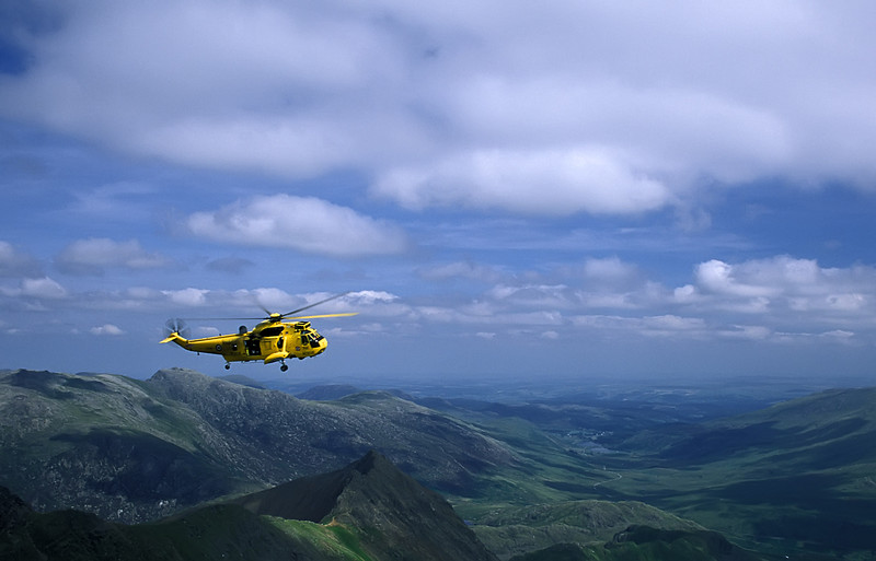Wales - Rescue patrol near the top of the mountain.