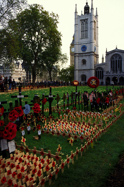 Remembrance Day display on the grounds of Westminster Abbey.