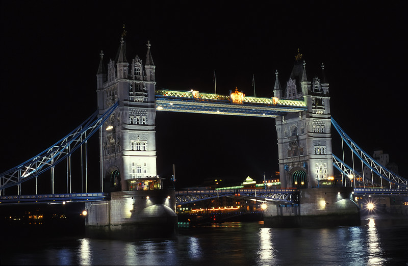 The Tower Bridge at night.