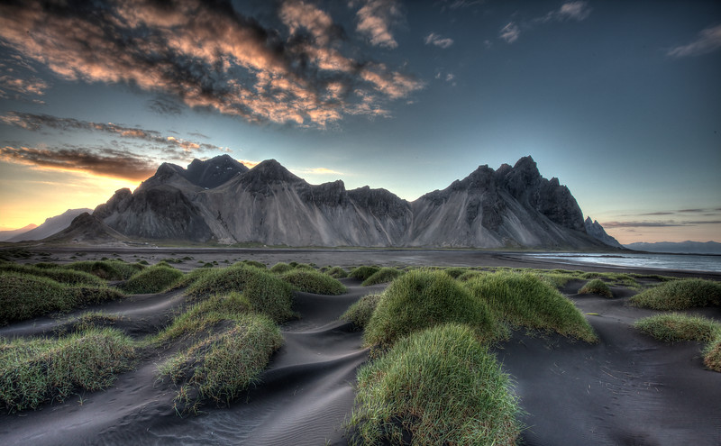Vesturhorn mountains and Black Sand Beach, Hohn