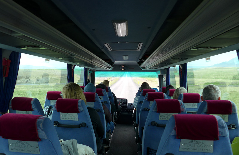 Our bus.  Each person has a seat and the one next to it for camera gear.
