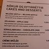Uno Restaurant, Reykjavik, Iceland  menu