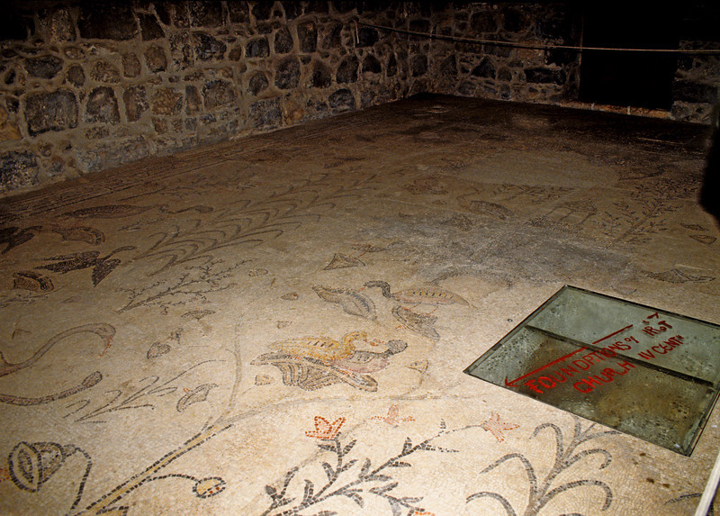 Mosaic pavement in the Church of the Multiplication of the Loaves and Fishes.