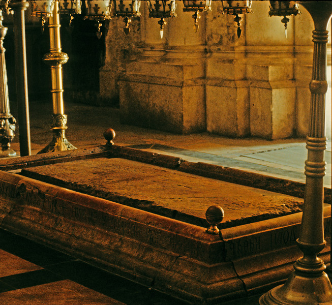 Just inside Holy Sepulchre is the annointing stone or Unction stone.