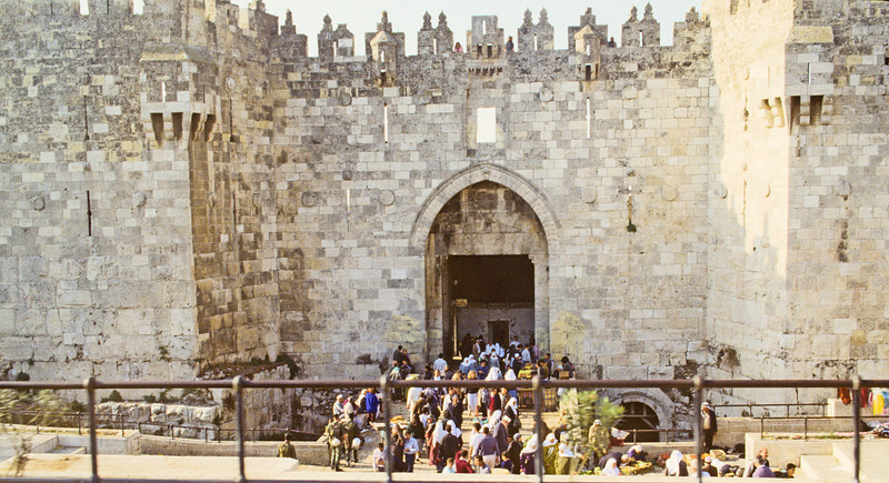 "Damascus Gate<br /> <br /> Called the Shechem Gate by the Jews, the Arabs remember this gate as the ""Gate of the Column"" because of the tall pillar that stood in this gate's plaza during the Roman and Byzantine period."