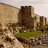 The old wall of the old city of Jerusalem.