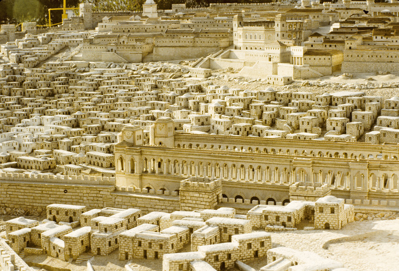 Model at he the Holy Land Hotel of the ancient city of Jerusalem.