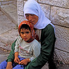 Arab woman sitting outside the Church of the Annunciation in Nazareth