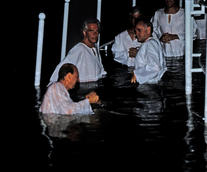 I'm under water here but int the background is famous evangelist Robert Tilton