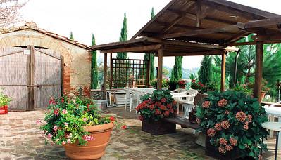 Farm house Tuscany San Gimignano back yard of farm house.Casanova di Pescille