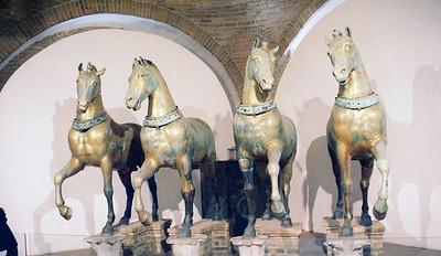 Saint Mark's Basilica.  These are the horses inside the basilica that tourists are forbidden to photograph