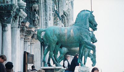 Saint Mark's Basilica.  These are the horses the tourists are allowed photograph.