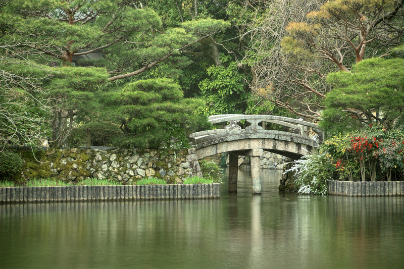 Kyoto - Bridge beside Kyoyochi Pond (Ryoanji Temple).